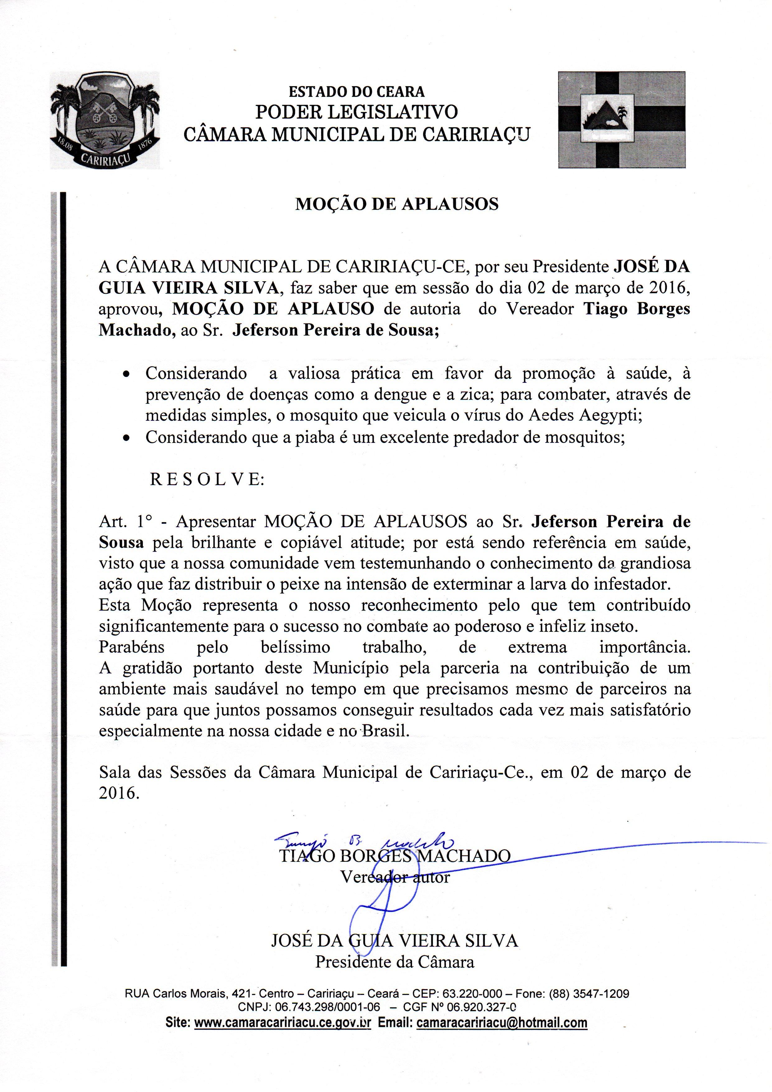 Câmara Municipal de Caririaçu - Moção de aplausos